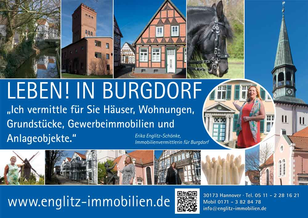 Ein Großflächenplakat, mit dem Immobilienvermittlerin Erika Englitz-Schönke ihre Verbundenheit mit der Stadt Burgdorf ausdrückt.